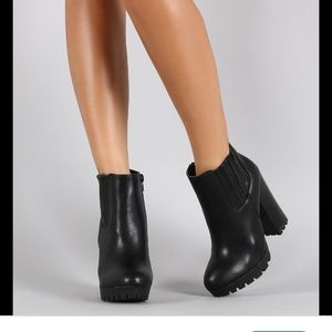 Black lug heel ankle boots booties